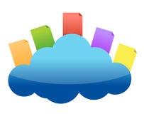 Concetto di calcolo della nuvola con i documenti Fotografie Stock Libere da Diritti