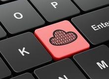 Concetto di calcolo della nuvola: Nuvola con il codice sul fondo della tastiera di computer Fotografie Stock
