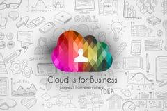 Concetto di calcolo della nuvola con l'insieme di schizzo di infographics Fotografia Stock Libera da Diritti