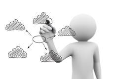 concetto di calcolo della nuvola del disegno della persona 3d sullo schermo trasparente Fotografia Stock Libera da Diritti