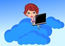 Concetto di calcolo della nuvola e della donna Immagini Stock