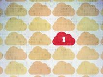 Concetto di calcolo della nuvola: icona della nuvola su digitale Fotografie Stock Libere da Diritti