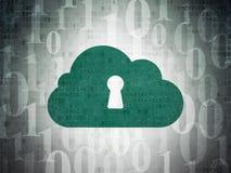 Concetto di calcolo della nuvola: Nuvola con il buco della serratura sopra Fotografie Stock