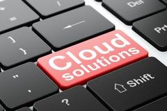 Concetto di calcolo della nuvola: Soluzioni della nuvola sul fondo della tastiera di computer Immagini Stock Libere da Diritti