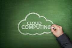 Concetto di calcolo della nuvola sulla lavagna Immagini Stock Libere da Diritti