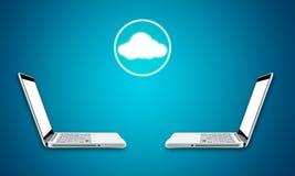 Concetto di calcolo di connettività di tecnologia del computer portatile della nuvola immagini stock