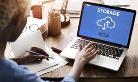 Concetto di calcolo di informazioni del grande backup dei dati di registrazione Fotografie Stock