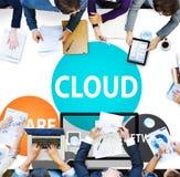 Concetto di calcolo di tecnologia di Internet di trasferimento della base di dati della nuvola Fotografie Stock Libere da Diritti