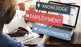 Concetto di carriera di affari di prestazione di conoscenza di occupazione Immagini Stock Libere da Diritti
