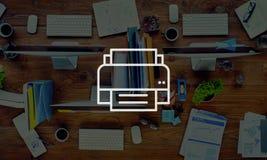 Concetto di carta di Icon Computer Page Digital della stampante Immagine Stock