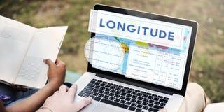 Concetto di cartografia del mondo di latitudine di longitudine fotografia stock