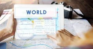 Concetto di cartografia del mondo di latitudine di longitudine fotografia stock libera da diritti