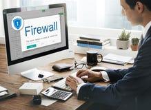 Concetto di cautela di sicurezza di protezione di allarme di antivirus della parete refrattaria immagini stock