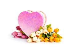 Concetto di celebrazione - contenitore e tulipano di regalo Fotografia Stock