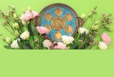 Concetto di celebrazione di Pesah & x28; holiday& ebreo x29 di pesach; Traduzione per testo ebraico sopra il piatto: & x28; PESAH fotografia stock