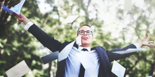 Concetto di celebrazione spensierata di affari di risultato riuscito fotografia stock libera da diritti