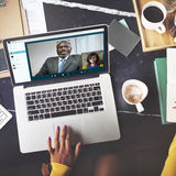 Concetto di chiacchierata di comunicazione di video conferenza di chiamata fotografie stock