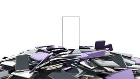 Concetto di colore casuale 3d degli Smart Phone a schermo pieno di modello di Modern del flagman rendere su bianco royalty illustrazione gratis