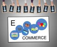 Concetto di commercio elettronico su una lavagna Immagini Stock