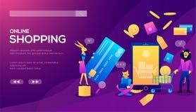 Concetto di compera online di commercio elettronico dello Smart Phone illustrazione vettoriale