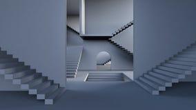 Concetto di complessità, corridoio moderno con le scale 3d rendere illustrazione di stock