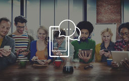 Concetto di comunicazione del collegamento a Internet dei dispositivi di Digital Immagine Stock