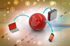 Concetto di comunicazione di Internet e della rete globale Immagini Stock