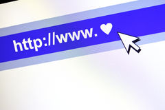 Concetto di comunicazione di WWW con cuore. Fotografia Stock Libera da Diritti