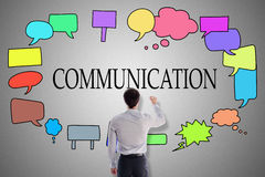Concetto di comunicazione disegnato da un uomo d'affari illustrazione vettoriale