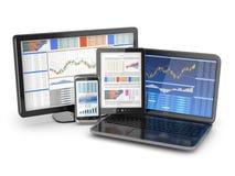 Concetto di comunicazioni commerciali. Computer portatile, pc della compressa e telefono. illustrazione di stock