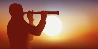 Concetto di concorrenza e di spionaggio con un uomo che guarda l'orizzonte tramite un telescopio illustrazione di stock