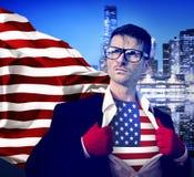 Concetto di conquista americano di direzione del supereroe fotografia stock