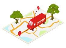 Concetto di consegna con il camion royalty illustrazione gratis