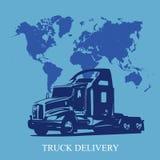 Concetto di consegna del carico del camion dei semi nello stile piano, illustrazione di vettore Fotografia Stock Libera da Diritti