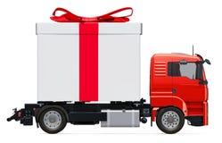 Concetto di consegna del regalo Camion con il contenitore di regalo, rappresentazione 3D illustrazione vettoriale