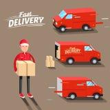 Concetto di consegna Furgone di consegna veloce Fattorino Illustrazione di vettore Fotografia Stock Libera da Diritti