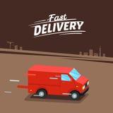Concetto di consegna Furgone di consegna veloce Segno veloce di consegna Illustrazione di vettore Fotografia Stock