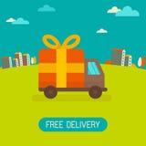 Concetto di consegna gratuita di vettore nello stile piano Fotografie Stock Libere da Diritti