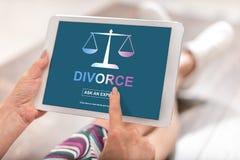 Concetto di consiglio di divorzio su una compressa fotografia stock libera da diritti