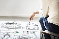Concetto di Construction Project Sketch dell'architetto del modello Fotografia Stock Libera da Diritti