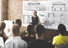 Concetto di Construction Project Sketch dell'architetto del modello Immagine Stock
