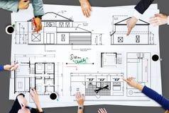 Concetto di Construction Project Sketch dell'architetto del modello Fotografie Stock