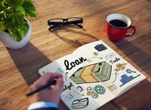 Concetto di contabilità di attività bancarie di economia di finanza di prestito Fotografia Stock