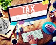 Concetto di contabilità di rimborso di verifica di tasse di imposta Fotografie Stock Libere da Diritti