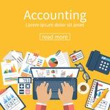 Concetto di contabilità Processo di organizzazione illustrazione vettoriale