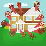 Concetto di controllo dei parassiti con l'illustrazione piana di vettore della siluetta dello sterminatore degli insetti Immagine Stock