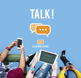 Concetto di conversazione di conversazione di comunicazione di conversazione Immagini Stock Libere da Diritti