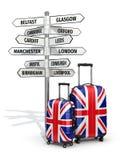 concetto di corsa Valigie e cartello che cosa da visitare nel Regno Unito Fotografia Stock