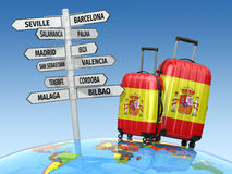 concetto di corsa Valigie e cartello che cosa da visitare in Spagna Fotografie Stock Libere da Diritti