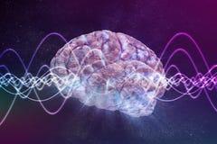 Concetto di coscienza Il cervello ed il segnale ondeggia nel fondo 3D ha reso l'illustrazione Immagini Stock Libere da Diritti